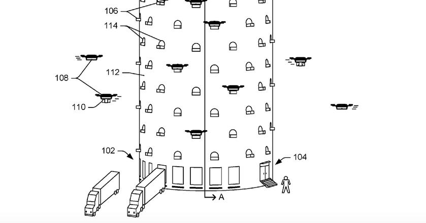 Wieża dla dronów dostawczych Amazona z wniosku patentowego