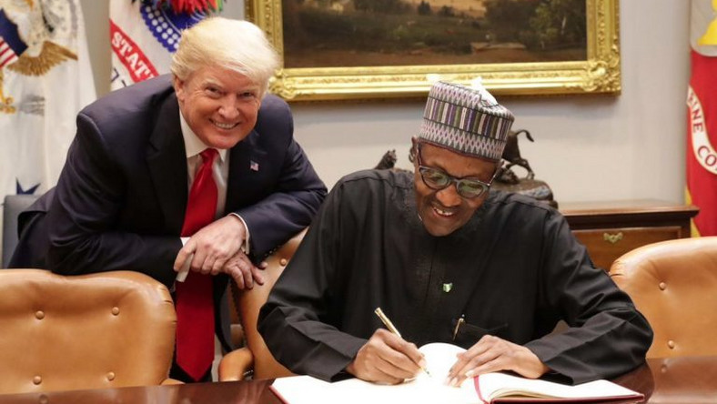 President Muhammadu Buhari and President Donald Trump at a bilateral meeting in the White House on Monday, April 30, 2018 [Twitter/@MBuhari]