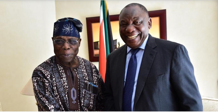 Former President of Nigeria, Olusegun Obasanjo and President Cyril Ramaphosa of South  Africa.  (Punch)