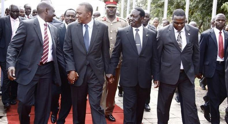 President Uhuru Kenyatta, deputy William Ruto and ODM leader Raila Odinga