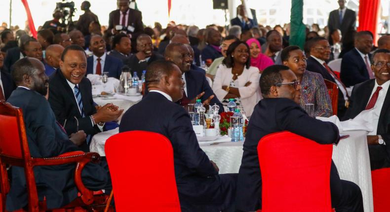 President Uhuru Kenyatta and other government officials during National Prayer Breakfast.