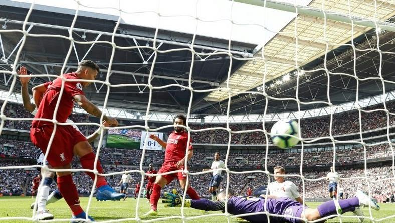 Roberto Firmino blasts Liverpool into a 2-0 lead over Tottenham at Wembley