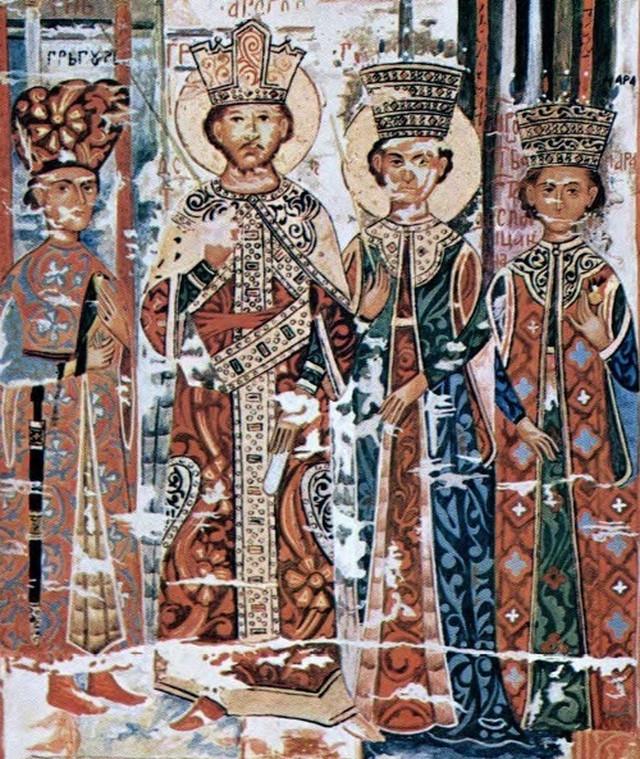 Despot Đurađ Branković, despotica Jerina, Grgur i Mara Branković, crtež prema minijaturi sa Esfigmenske povelje (1429), Leontije Pavlović