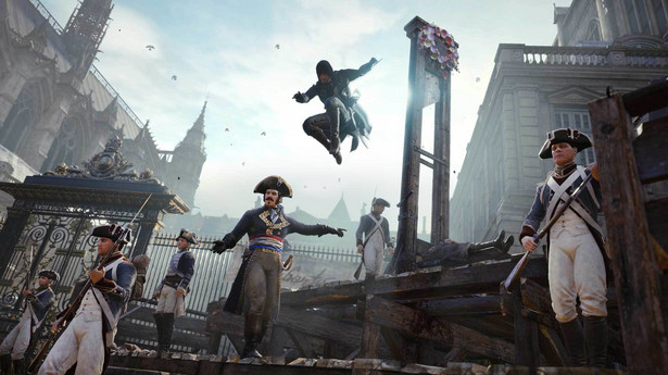 Assassins Creed Unity Kolejna odsłona przygodowej gry przygotowanej przez Ubisoft. Tym razem gracze wcielają się w asasyna imieniem Arno. Na uwagę zwraca grafika, a przede wszystkim z precyzją odwzorowane budynki XVIII-wiecznego Paryża.