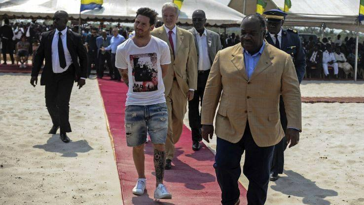 President Bongo was criticised for driving Argentinian footballer Lionel Messi around  in a flashy car in 2017.