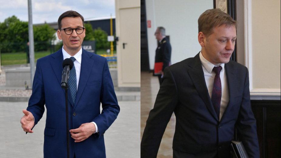 Premier Mateusz Morawiecki (L) i szef Centrum Analiz Strategicznych Norbert Maliszewski (P)