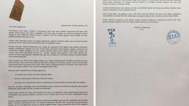 List ETA oznajmiający decyzję o zakończeniu działalności i całkowitym rozwiązaniu struktur