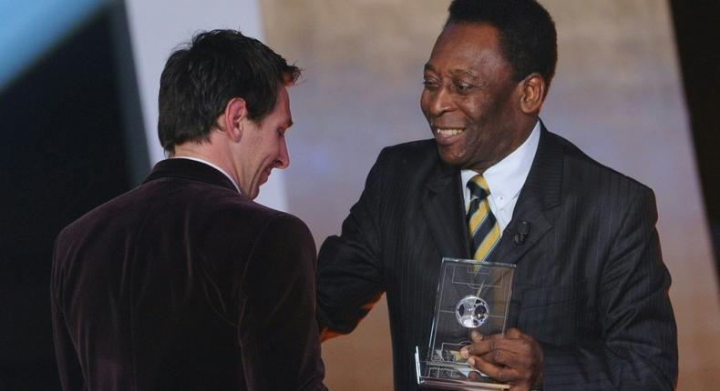 From king to king: Pele with Messi Creator: Franck FIFE