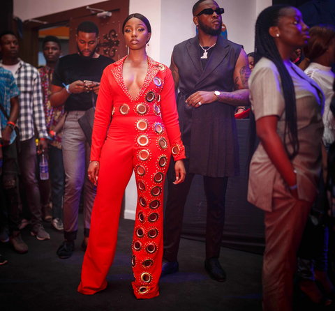 Teddy A showed up looking dapper and as expected, he came with his bae and former housemate, Bam Bam who looked gorgeous