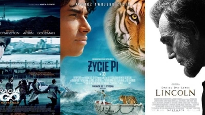 """Plakaty do filmów: """"Wróg numer jeden"""", """"Operacja Argo"""", """"Życie Pi"""", """"Nędznicy"""" i """"Lincoln"""""""