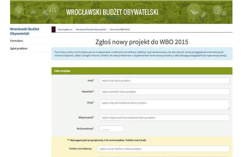 Tak wygląda formularz WBO