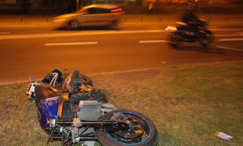 Wypadek motocyklisty w Warszawie.