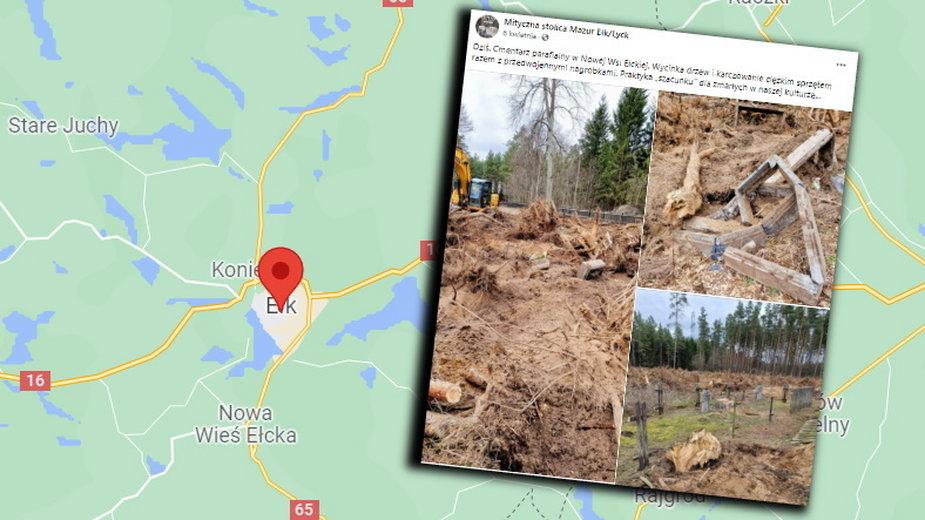 Do dewastacji cmentarza doszło w gminie Ełk