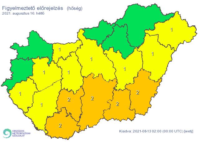 A hőség miatt a szombati naphoz képest plusz egy megyében emelték másodfokúra a riasztást / Fotó: met.hu