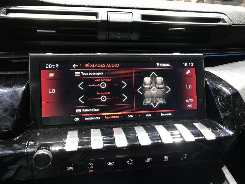 Peugeot 508 menu ustawień audio