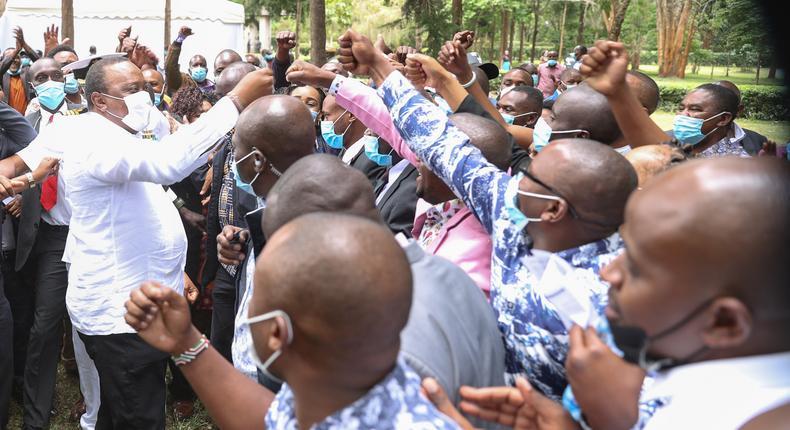 President Uhuru Kenyatta with MCAs at Sagana State Lodge