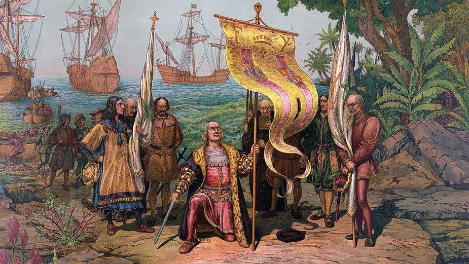 Obraz przedstawia Kolumba odkrywającego Amerykę, w tyle karawele. Widoczne podwyższenia burt z przodu i z tyłu okrętów