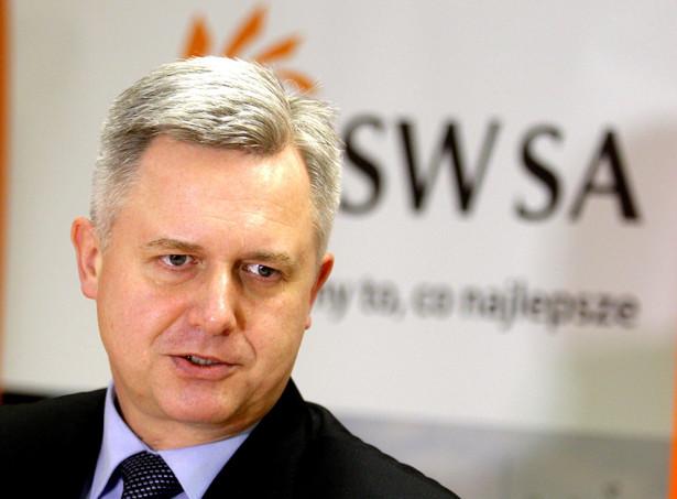 Prezes Zarządu JSW S.A. Jarosław Zagórowski podczas konferencji prasowej w Jastrzębiu Zdroju