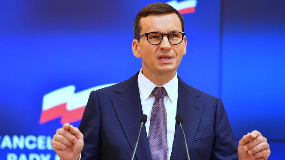 Premier Mateusz Morawiecki podczas konferencji prasowej w siedzibie Kancelarii Prezesa Rady Ministrów w Warszawie