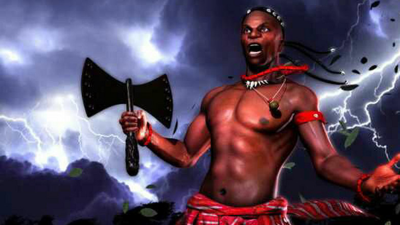 A cartoon illustration of god of thunder (Songo) - (segilolasalami)