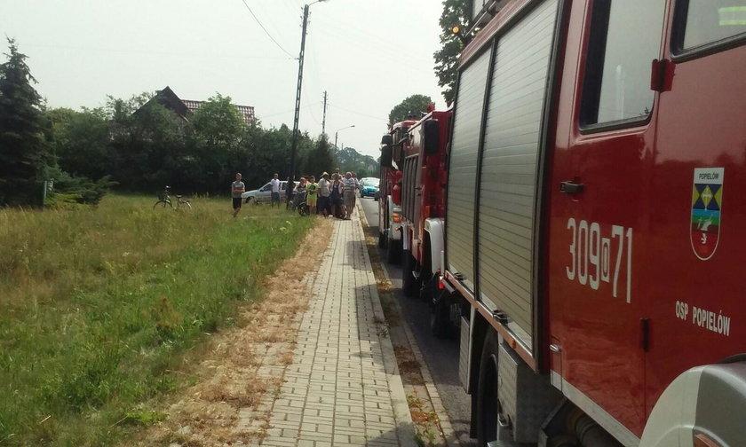 Na miejscu interweniowała straż pożarna, policja i pogotowie ratunkowe