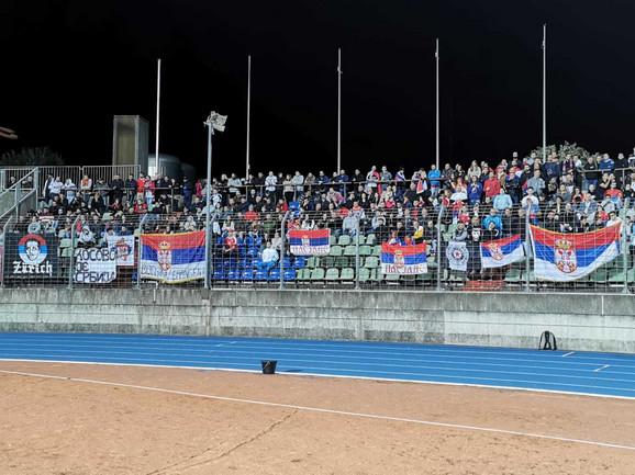 Navijači Srbije na meču Luksemburg - Srbija