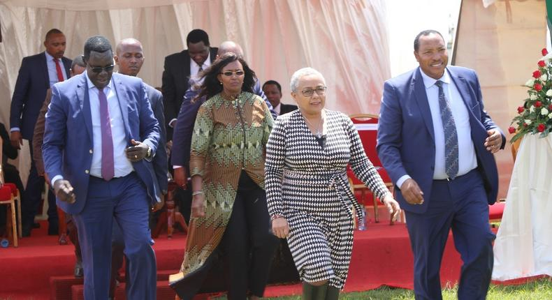 File image of Ferdinand Waititu with First Lady Margaret Kenyatta