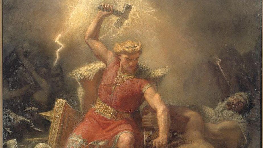 Thor walczący z gigantami, Mårten Eskil Winge, 1872 (domena publiczna)