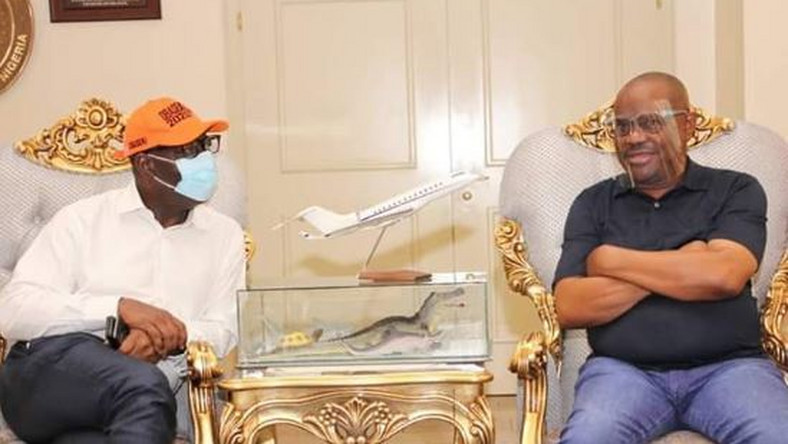 Governors Godwin Obaseki of Edo state and Nyesom Wike of Rivers state. (Twitter/Gov Wike)