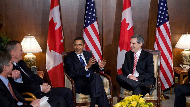 Ingnatieff podczas spotkania z Obamą w Ottawie w 2009 roku.