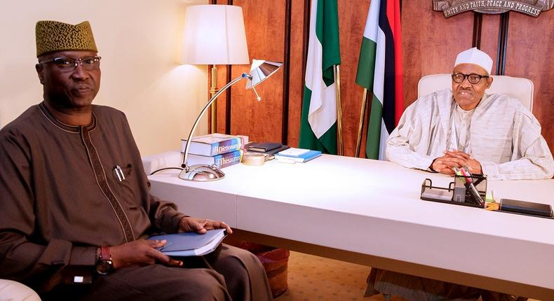 President Muhammadu Buhari meets Secretary to the Government of the Federation (SGF), Boss Mustapha, at the Presidential Villa during his appointment (Presidency)