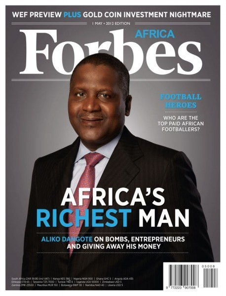 Aliko Dangote on the cover of Forbes Africa