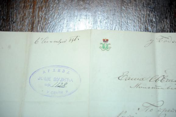 Pismo sa grbom Mihaila Obrenovića