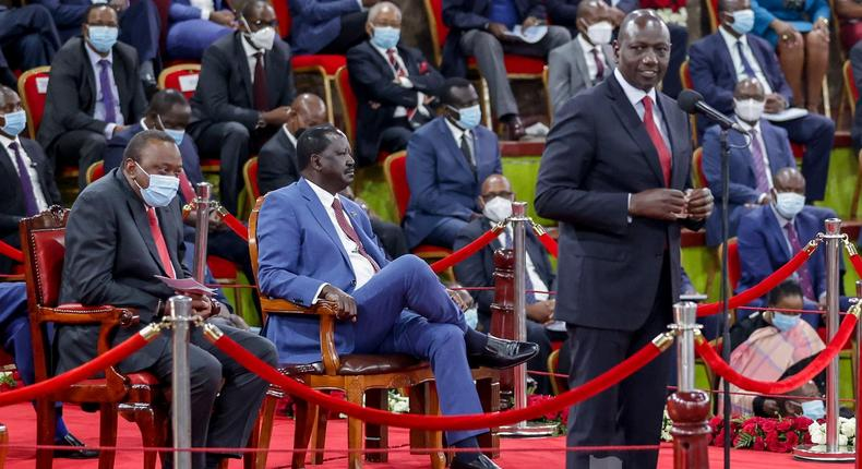 Deputy President William Ruto speaking during the launch of the BBI report at Bomas of Kenya on October 26, 2020
