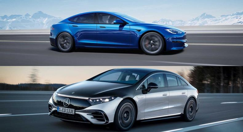 The Tesla Model S (above) and Mercedes-Benz EQS.