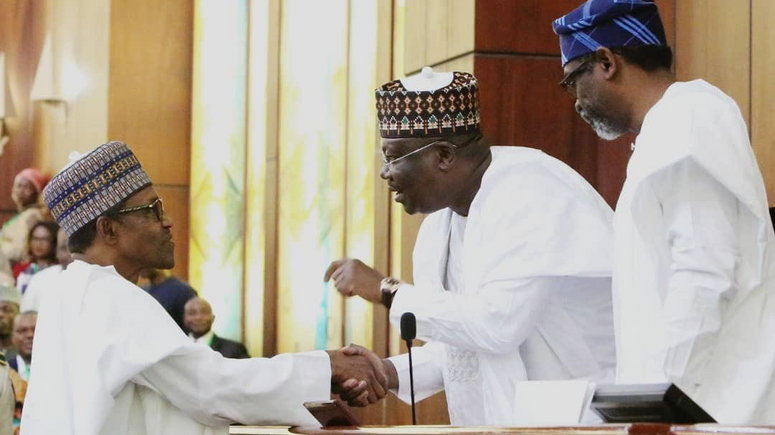 Image result for We'll continue to partner Buhari in developing Nigeria - Lawan