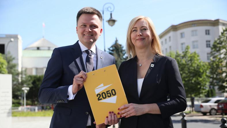 Lider Stowarzyszenia Polska 2050 Szymon Hołownia oraz posłanka na Sejm RP Hanna Gill-Piątek