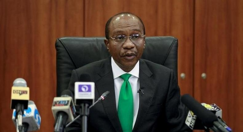 Central Bank Governor Godwin Emefiele speaks at the monthly MPC meeting in Abuja, Nigeria,  September 22, 2015.    REUTERS/Afolabi Sotunde
