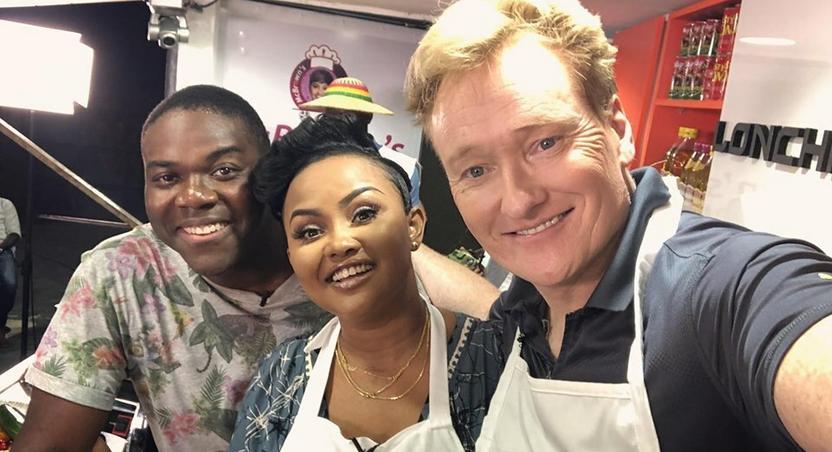 Nana Ama McBrown and Conan O'Brien on McBrown's Kitchen