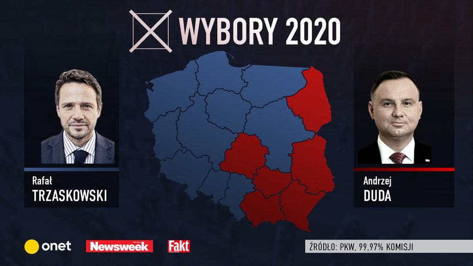Wyniki wyborów prezydenckich 2020 według województw