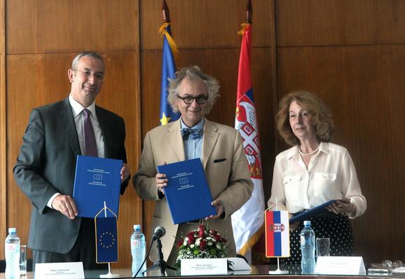 Majkl Devenport, Ivan Tasovac i Svetlana Jončić u Narodnoj biblioteci Srbije