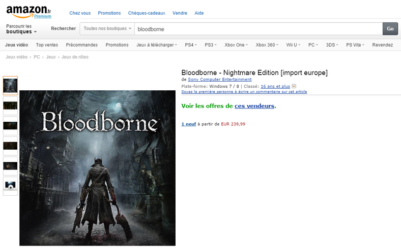 Bloodborne PC na stronie Amazon France