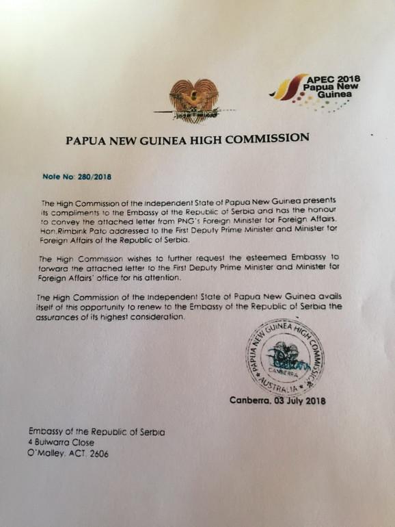 Diplomatska nota Papua Nova Gvineje