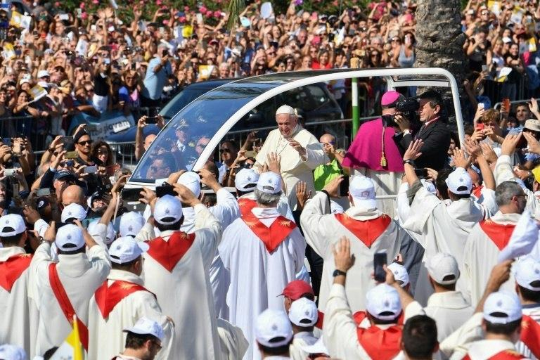 Around 100,000 people gathered in Palmero to hear the pope's mass, according to officials