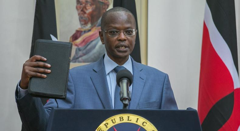 New Tourism CAS Joseph Boinnet takes the oath of office at State House Nairobi (PSCU)