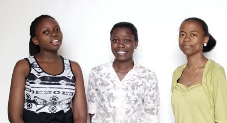 The three Ugandan girls that make up Team Code Gurus