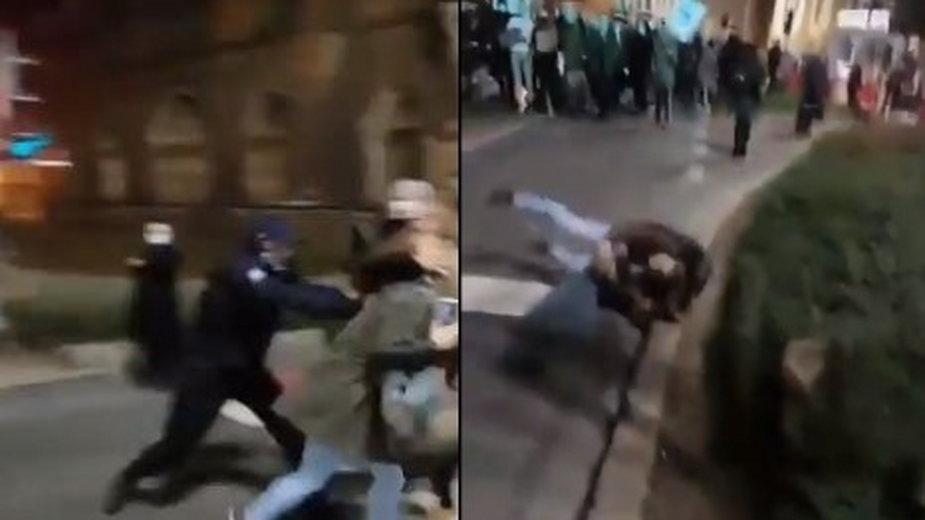 Zaatakował dziennikarki podczas strajku kobiet. Został zatrzymany - fot. Twitter/Mateusz Czmiel