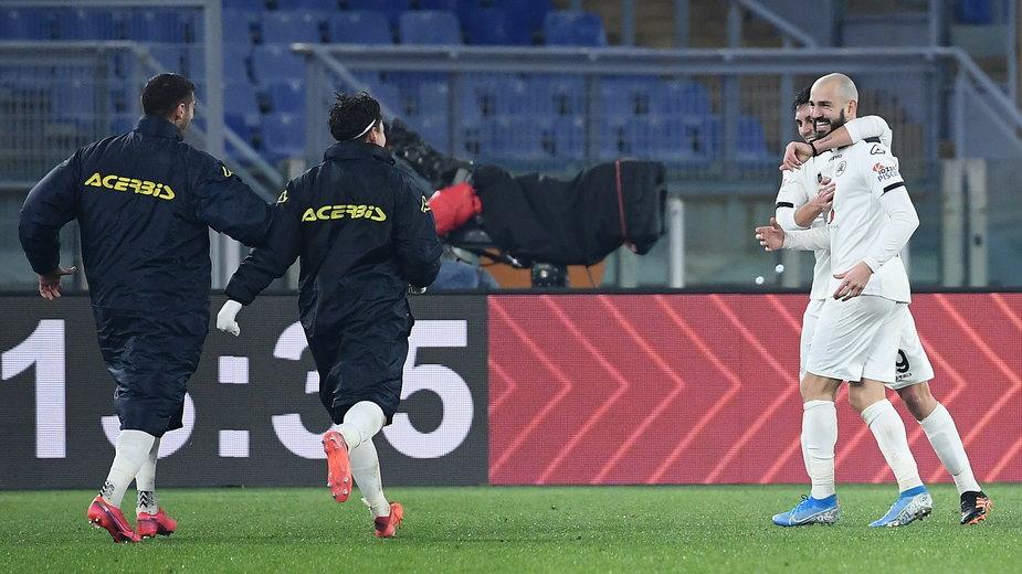 Radość piłkarzy Spezia Calcio po ostatnim golu