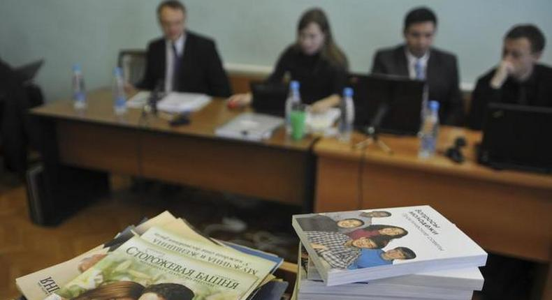 Stacks of booklets distributed by Jehovah's Witnesses in a Russian court.