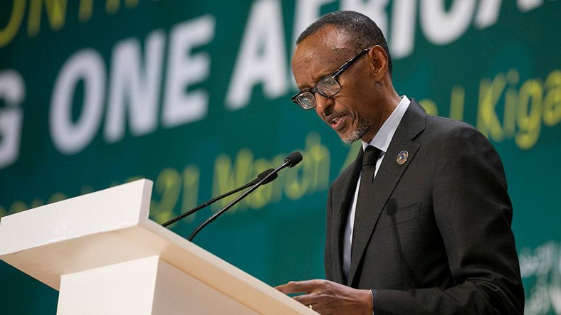 President Paul Kagame giving a Keynote address on Africa's Continent Free Trade Area.